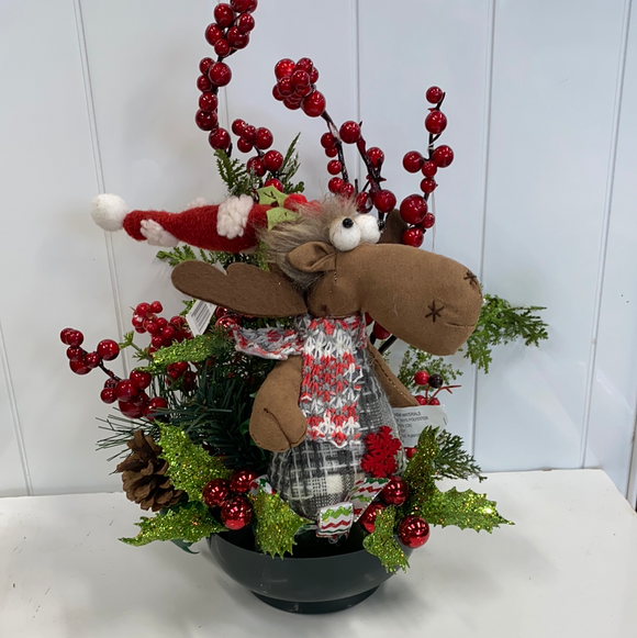 12in high decorated moose centerpiece