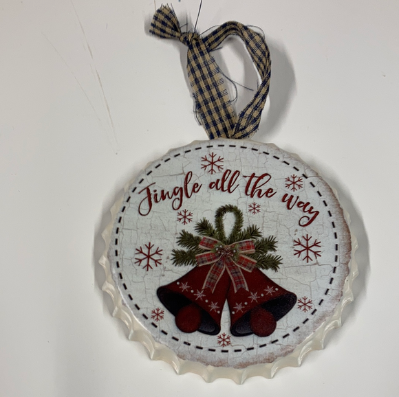 "Holiday ""Jingle All the Way"" bottle cap ornament"