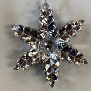 "Holiday Snowflake Ornament 5"" Silver 3D Snowflake with Gem in Center"