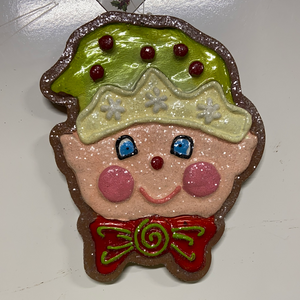 "Holiday Candy Section Ornament 6"" Gingerbread Elf"