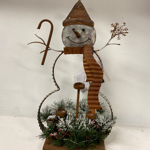 Holiday Snowman Decor Large Metal Candle Holder Holding a Cane