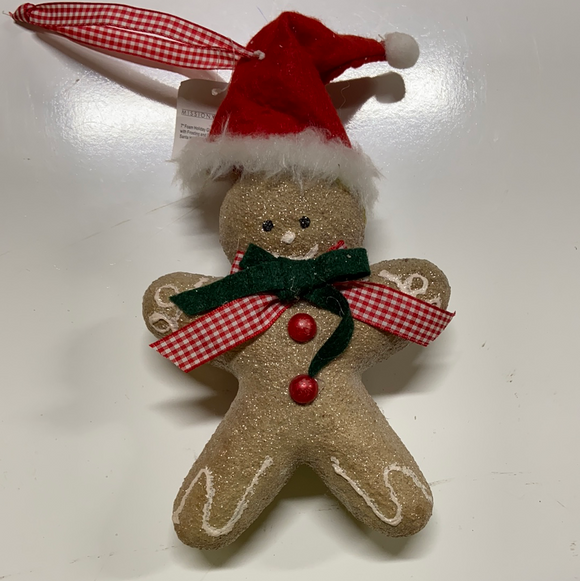 "Holiday Candy Section Ornament 9"" Gingerbread Man with Hat"