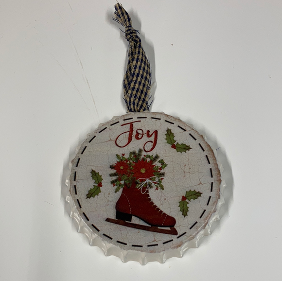 """Joy"" Bottlecap Ornament"