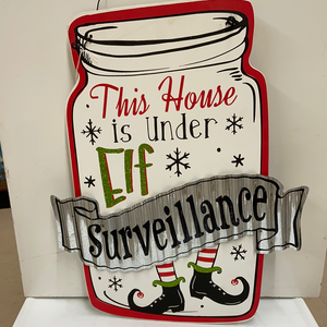 "Elf Section 16"" Mason Jar Sign ""Elf Surveillance"""