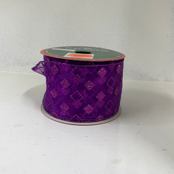 Purple sparkly ribbon with squares