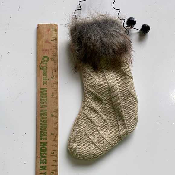 Tan holiday knitted stocking ornament with fur