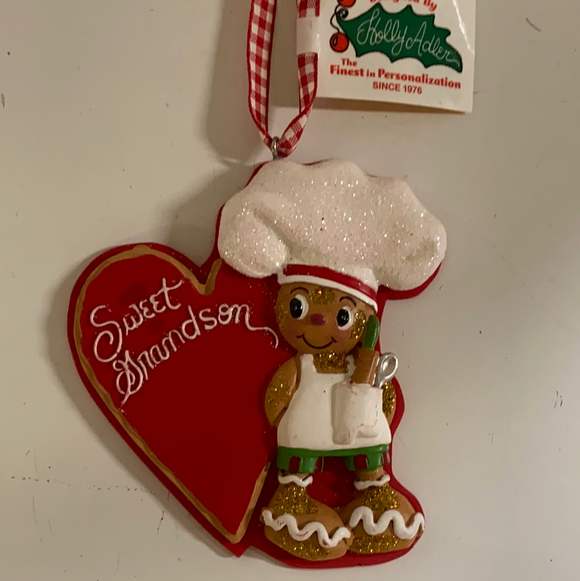 "Holiday Candy Section Ornament 4"" Gingerbread Baker ""Sweet Grandson"""