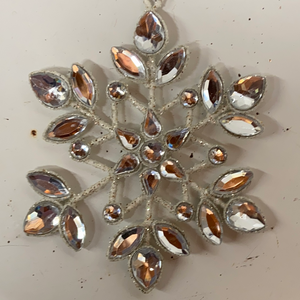 Holiday Crystal Section Snowflake with Three Crystals at Tips