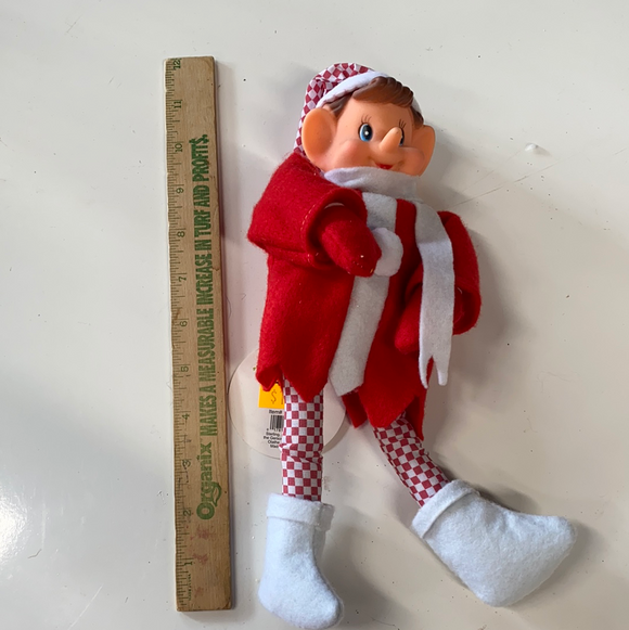 12in checkered dressed holiday elf ornament