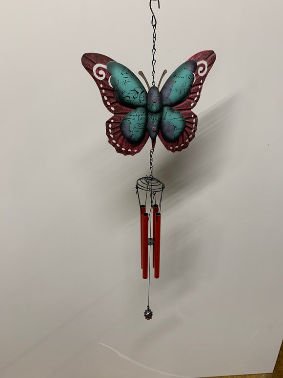 Red Metal Butterfly Wind Chime
