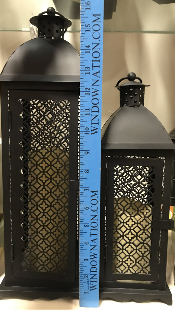 Lantern with flameless LED timer candle (2) sizes