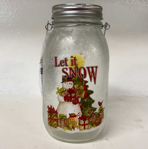 "Holiday Snowman Decor LED Lighted Jar ""Let it Snow"""