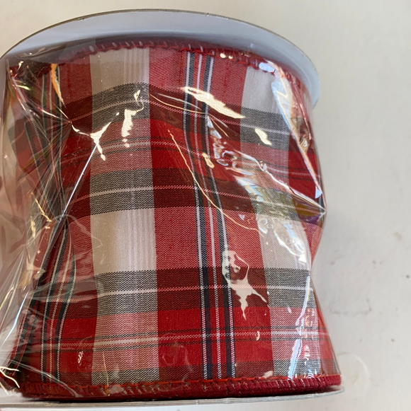 "4"" width by 10yards red plaid ribbon"