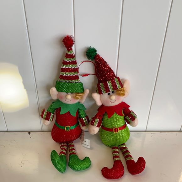 Sparkly red and green 12in holiday elves