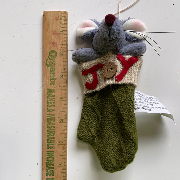 Holiday mouse in green joy mitten ornament moose section