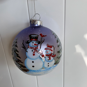 Holiday Snowman Decor Glass Bulb with Snowman and Son