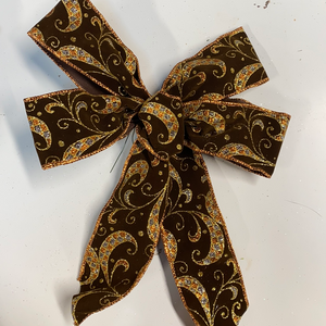Small Brown gold and blue sparkly holiday bow