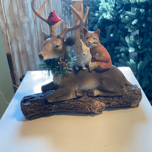 Deer, Fox and Rabbit on a Log