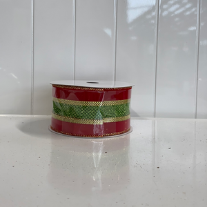 Red green and gold ribbon