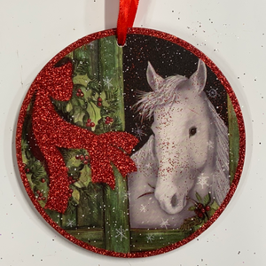 Holiday Farm Section Ornament Round Image of White Horse and Red Bow