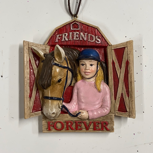 "Holiday Farm Section Ornament Girl with Horse ""Friends Forever"""