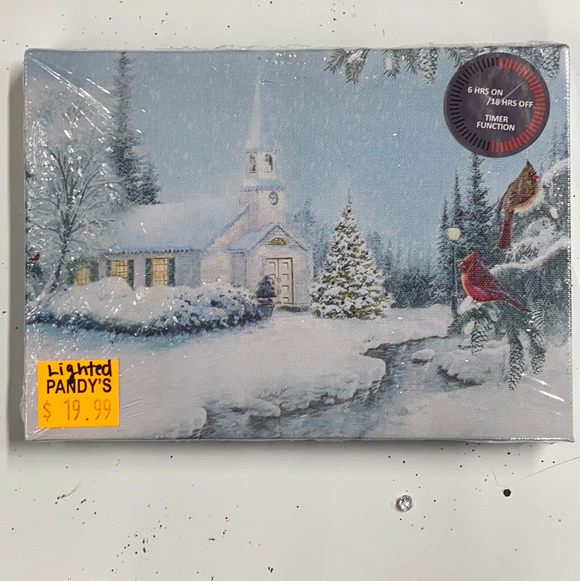 "Holiday Farm Section LED Lighted Canvas with Timer 6""x8"" Snowy Church"