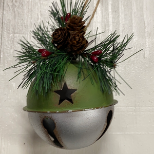 "Holiday Farm Section Decor 4"" Metal Silver and Green Bell Ornament"