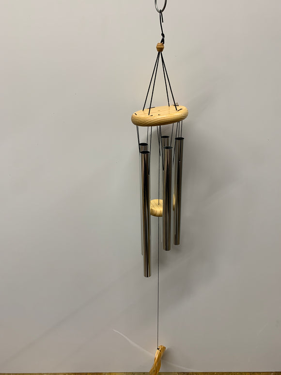 Silver Chimes With Light Wooden Accents