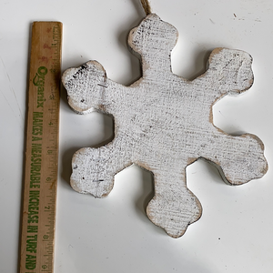 White holiday wooden snowflake
