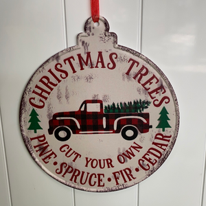 8in Christmas tree truck metal ornament