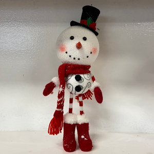 Holiday Snowman Decor Snowman with Striped Arms and Legs and Black Top Hat
