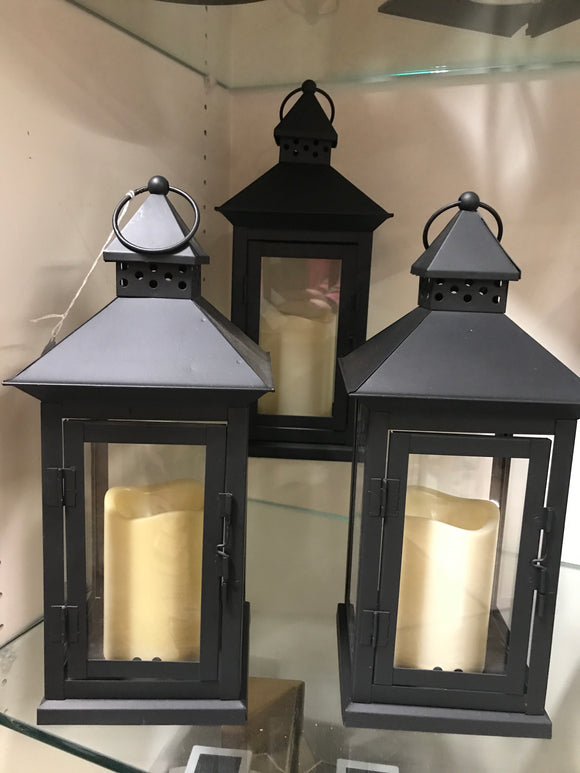 Lantern with battery charged candle