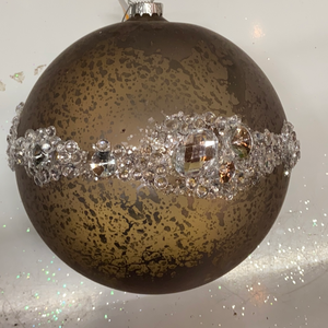"Holiday Snowflake Ornament 8"" Antique Gray Glass Ball with Gems"
