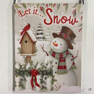 "Holiday Farm Section LED Lighted Canvas 6""x8"" Snowman ""Let it Snow"""