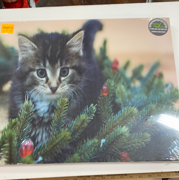 "17""x14"" times lighted canvas of cat in Christmas tree"