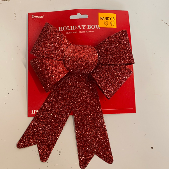 Red glittery holiday bow