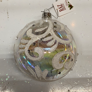"Holiday Snowflake Ornament 4"" Clear Iridescent Bulb with White and Silver Accents"