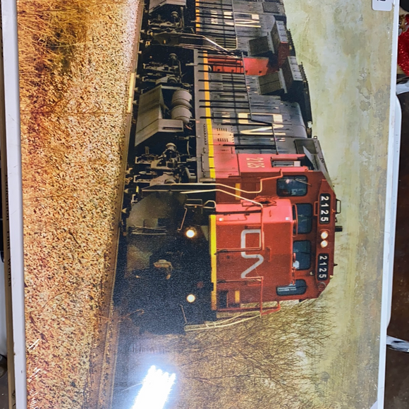 "23.5""x16"" lighted canvas painting of train"