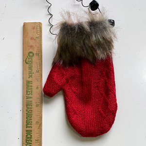Red holiday Knitted mitten ornament with fur