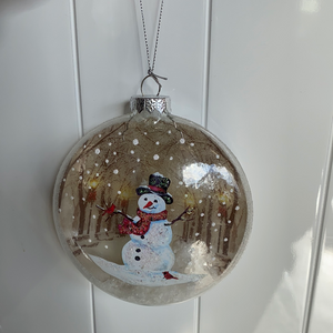 Holiday Snowman Decor Snow Filled Ornament with Snowman on Front
