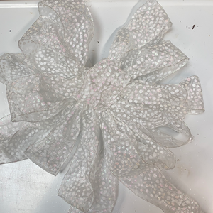 Big pink and white polka dot holiday bow