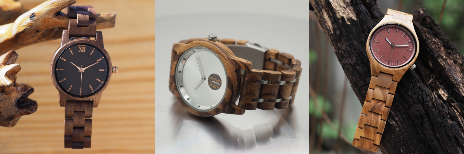 Collage of wooden watches