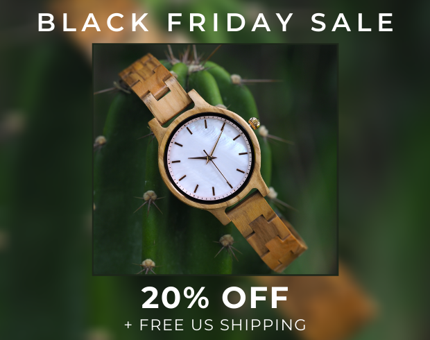 "Wooden watch with text that says ""Black Friday Sale 20% Off + Free US Shipping"""