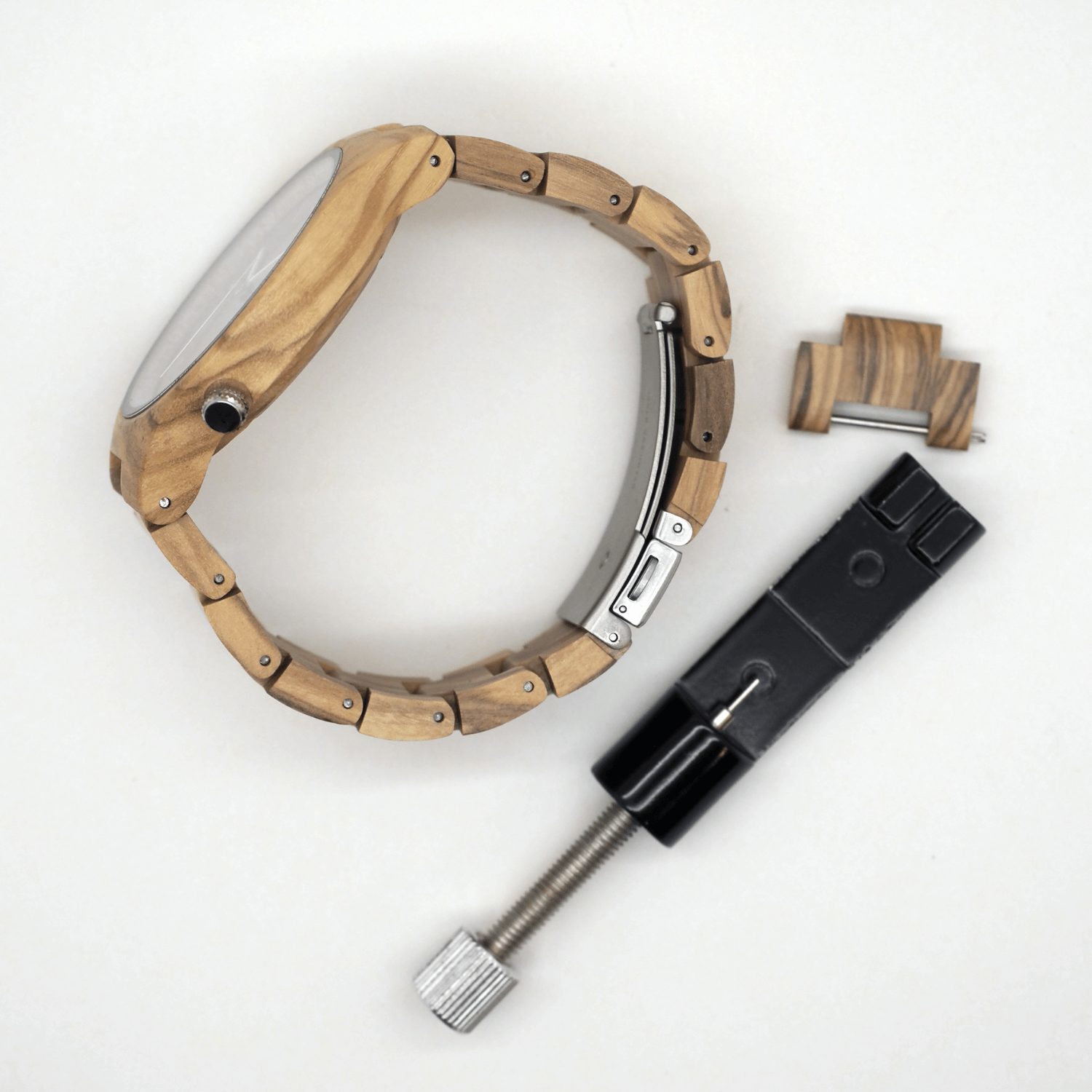 Reassembled Wooden Watch link adjustment tool and spare link