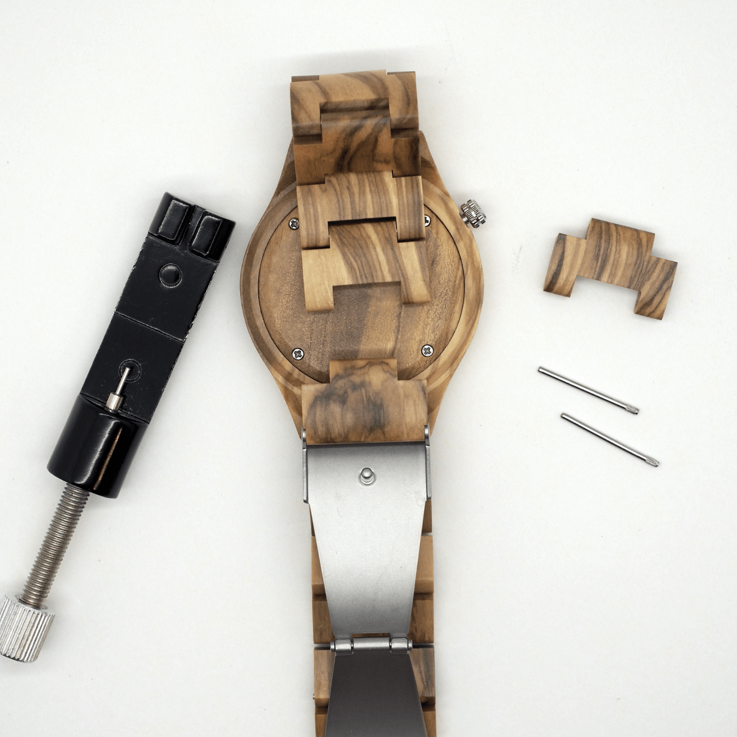 Wooden Watch link adjustment tool pins and link