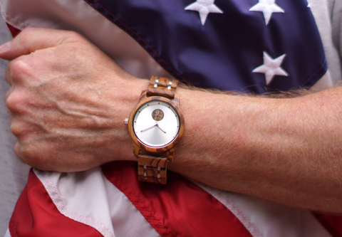 Wooden watch military discount American flag