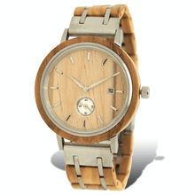 Load image into Gallery viewer, Olive wood and stainless steel luxury wooden watch with silver subdial