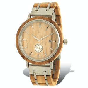 Olive wood and stainless steel luxury wooden watch with silver subdial