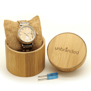 Olive wood and stainless steel watch in Unbranded bamboo box with link resizing tools