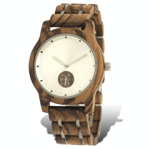 zebrawood and stainless steel wooden watch with subdial